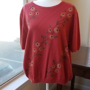 PLUS SIZE ALFRED DUNNER EMBROIDERED SWEATER
